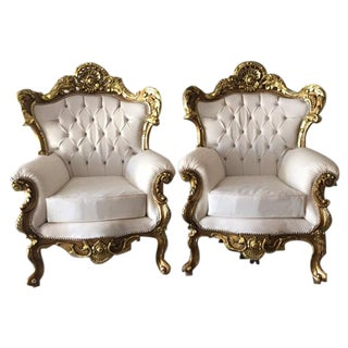 Italian Rococo Style Armchairs - A Pair For Sale