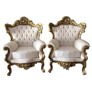 Italian Rococo Style Armchairs - A Pair