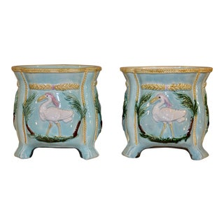19th C Majolica Jardinieres- a Pair For Sale