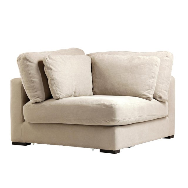 Contemporary Raw Linen Corner Sectional Piece For Sale - Image 3 of 3