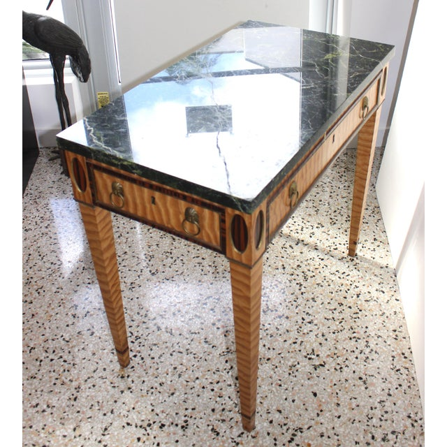 Antique Mid-19 Century American Side Table in Ribbon Satinwood and Marble For Sale - Image 9 of 13