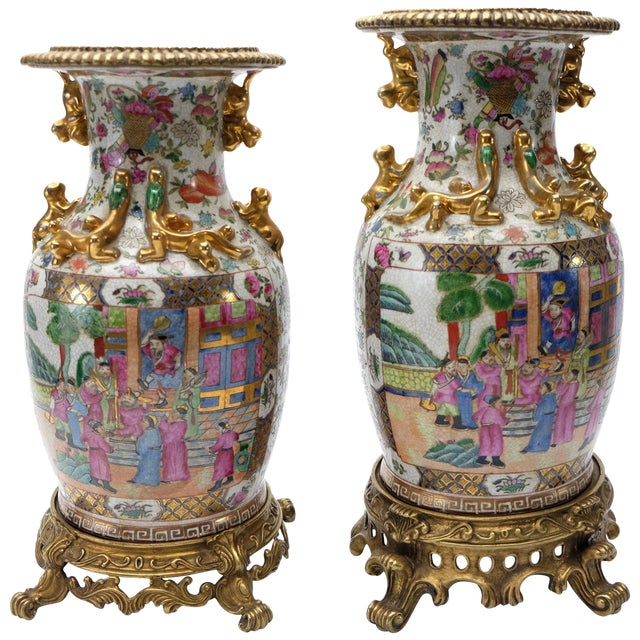 Modern Set of Two Famille Rose Urns on Bronze Stands For Sale