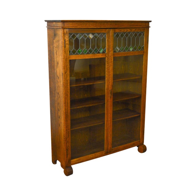 Antique Oak 2 Door Leaded Glass Door Bookcase - Antique Oak 2 Door Leaded Glass Door Bookcase Chairish