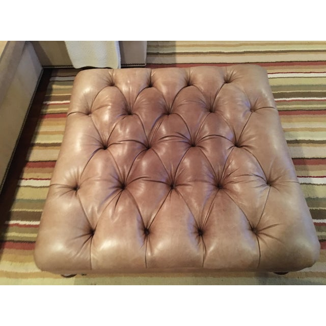 Thomasville Tufted Leather Ottoman - Image 3 of 3