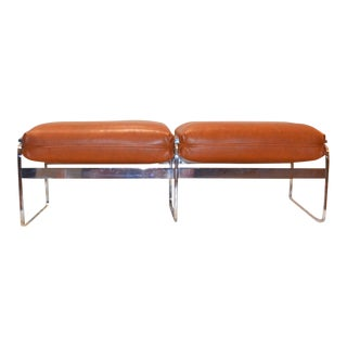 "1970s Vintage Milo Baughman Style ""Burnt Orange"" Chrome Padded Bench For Sale"