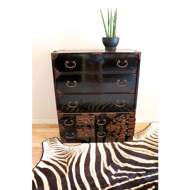 Vintage Black Lacquered Tansu Chest - Image 3 of 10
