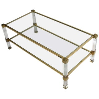 Pierre Vandel Chrome, Lucite and Glass Coffee Table