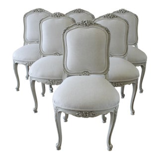 20th C French Carved Belgian Linen Upholstered Dining Chairs - Set of 6