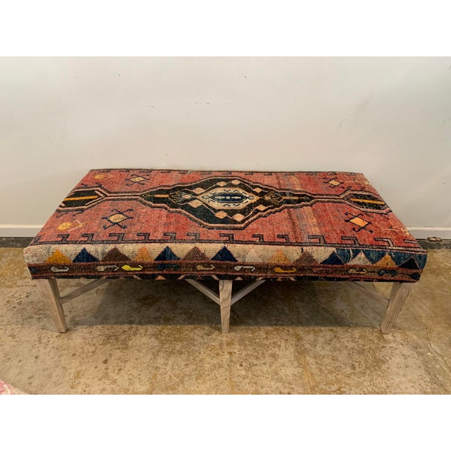 Vintage Persian Rug Ottoman Table For Sale - Image 10 of 11