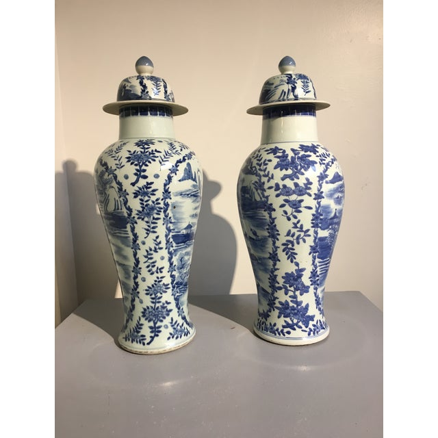 Early 20th Century Chinese Tall Blue and White Baluster Covered Porcelain Vases, circa 1900- A Pair For Sale - Image 5 of 8