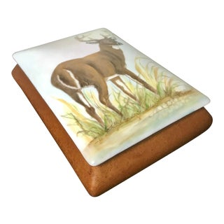 Hand Painted Stag / Wildlife Porcelain Box - Signed Mildred Hathaway For Sale