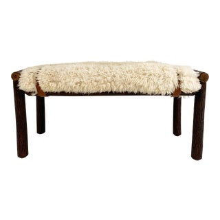 Forsyth X Old Hickory Butte Bench With Custom California Sheepskin Cushion and Loro Piana Buffalo Leather For Sale