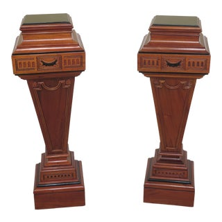 Mahogany Adam Style Carved Pedestals-A Pair For Sale