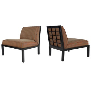 Michael Taylor for Baker Mid-Century Asian Modern Black Slipper Chairs - A Pair