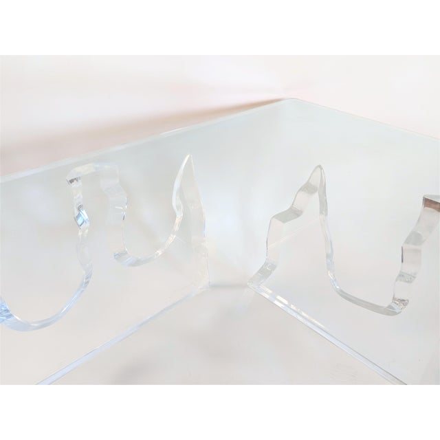 Lion in Frost Style Lucite Iceberg Coffee 2-Piece Table Base For Sale - Image 10 of 13