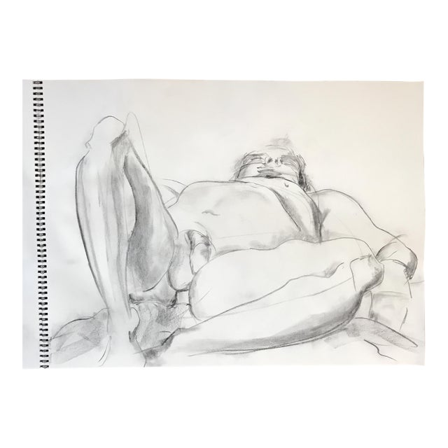 Foreshortened Male Nude Drawing - Image 1 of 3