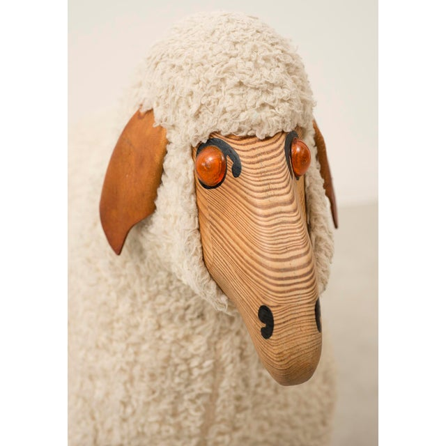 Wood Life-Sized Sheep in Sheepskin and Beech, Germany, 1970s For Sale - Image 7 of 13