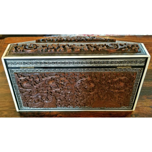 Late 19th Century 19c Anglo Indian Carved Padouk and Sadeli Stationary Box For Sale - Image 5 of 9