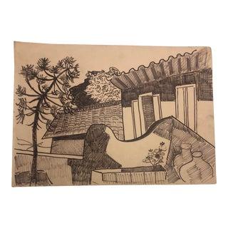 1950s Vintage Tatiana McKinney Modern Brazilian Scene Drawing For Sale
