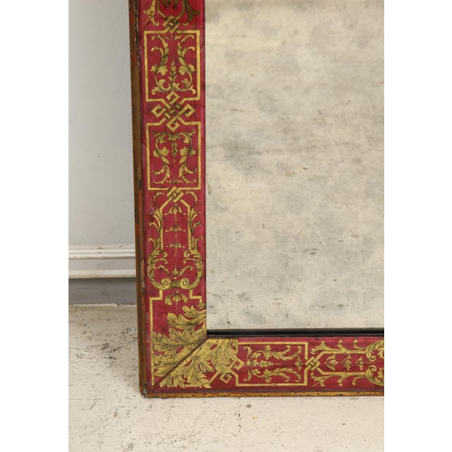 "Red Queen Anne Reverse-Painted ""Verre Eglomise"" Mirror For Sale - Image 8 of 10"