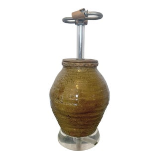 Vintage Mid 20th Century Ceramic and Lucite Table Lamp For Sale