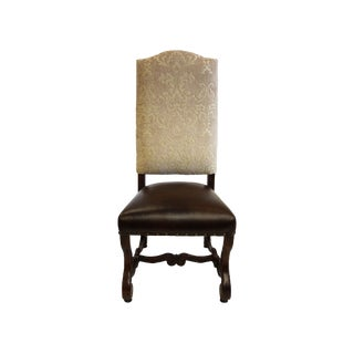 Traditional French Louis Ivory Damask Leather Seat Dining Chair For Sale