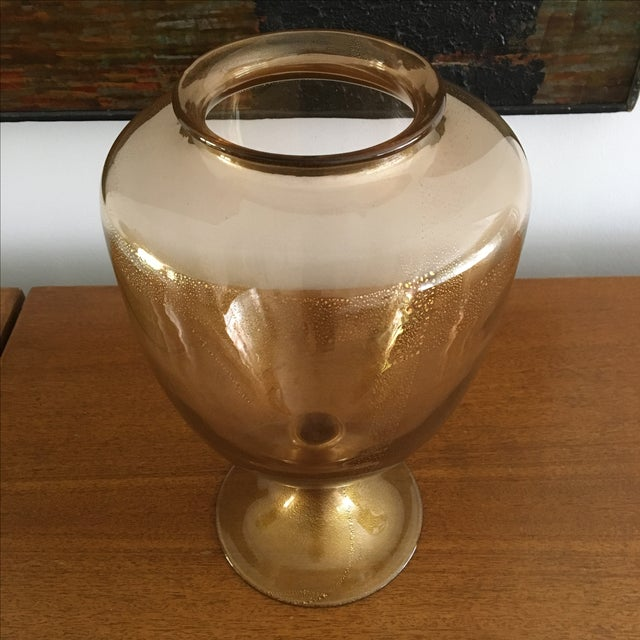 Murano Amber Gold Flake Donghia Glass Murano Vase For Sale - Image 4 of 6