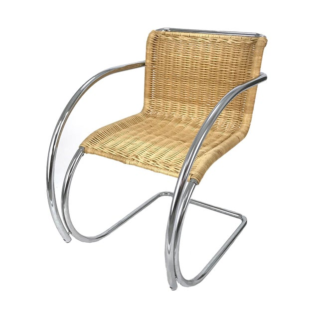 Vintage Chrome & Wicker Chair Mr-20 by Ludwig Mies S Van Der Rohe Style For Sale - Image 4 of 6