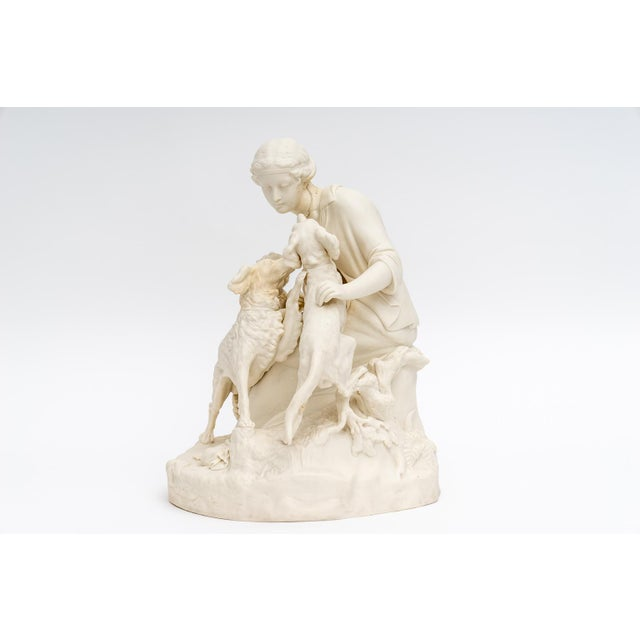 English Bisque Parian Ware Sculpture Figures With Hunting Dogs For Sale - Image 10 of 13