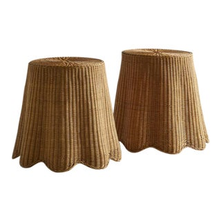Pair of Wicker Trompe l'Oeil Draped Side Tables For Sale