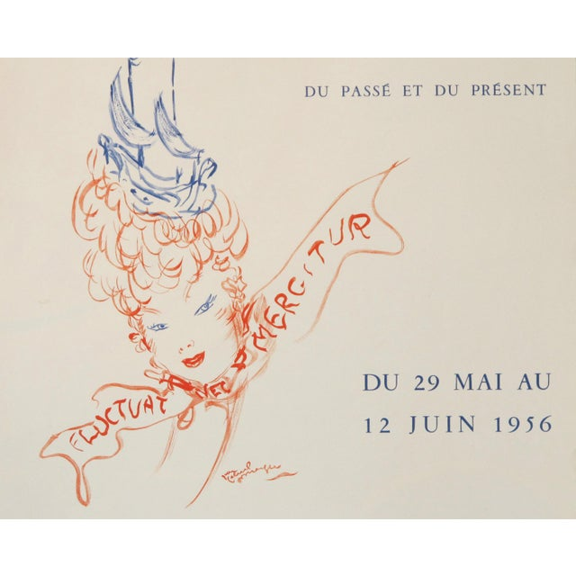 Illustration Parisian Celebrities, 1956 Original Vintage Poster, Cheret Style For Sale - Image 3 of 5