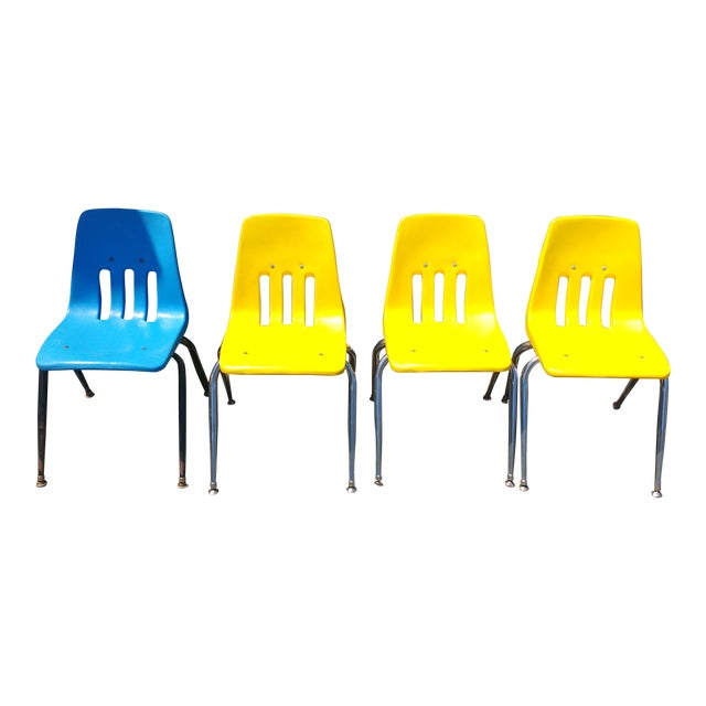 Virco Los Angeles Stacking Chairs - Set of 4 | Chairish
