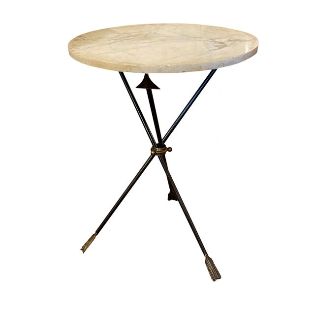 French Carrara Marble and Iron Triad Base Table For Sale - Image 4 of 4