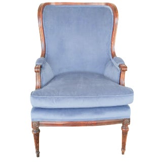 Bergere Blue Chair in Velveteen For Sale