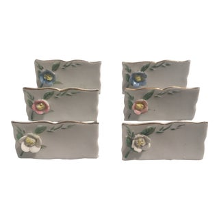 1960's Sheffield Porcelain Floral Nameplates - Set of 6 For Sale