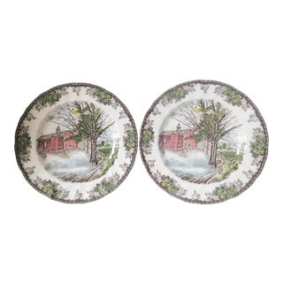 Vintage 1980s Johnson Bros. Friendly Village Seasonal Spring Dinner Plates - a Pair For Sale