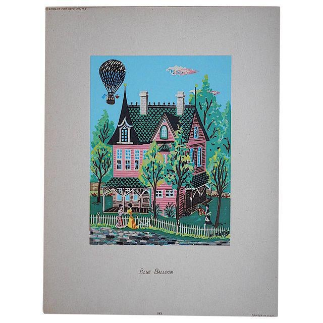 This mid-20th century silkscreen print by Takis depicts a view of a home with a hot air balloon overhead. Appears to be a...