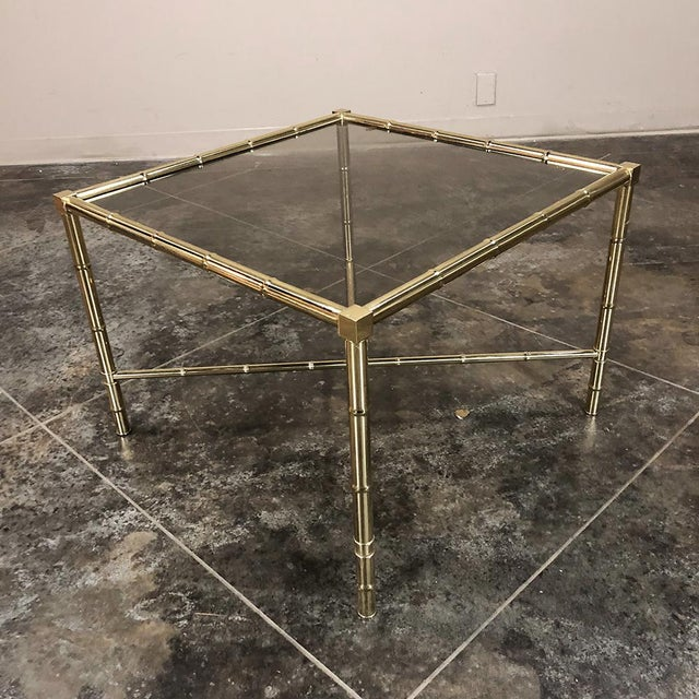 Metal Mid Century Brass Smoked Glass Top End ~ Coffee Table For Sale - Image 7 of 12