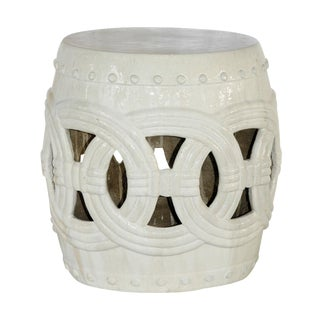 White Ceramic Garden Stool For Sale