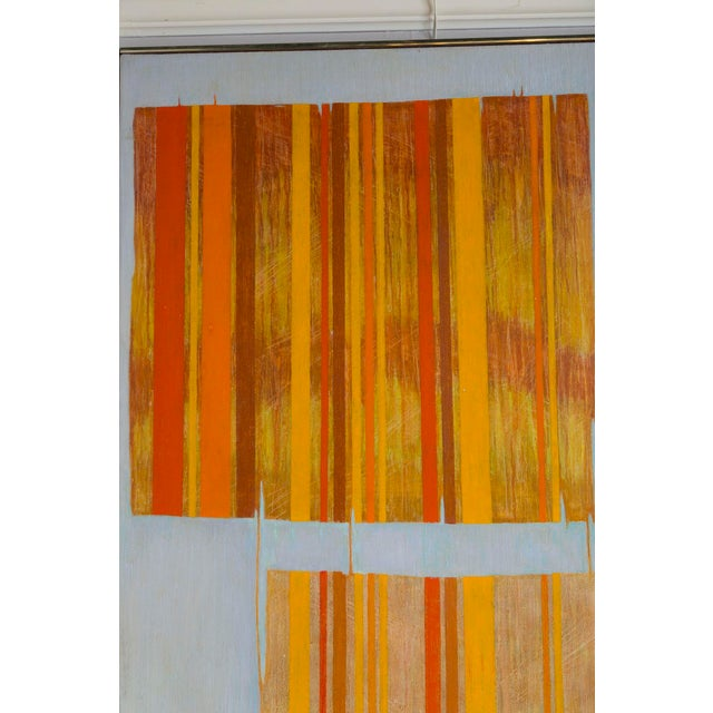Abstract Large Mid Century Abstract Oil Painting on Linen by Listed Artist For Sale - Image 3 of 9
