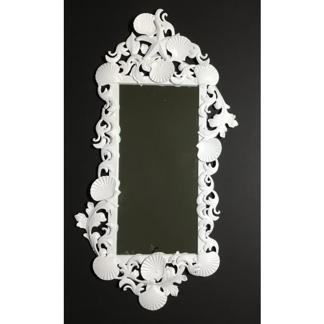 2010s White Iron Sea Shell Mirror For Sale - Image 5 of 12