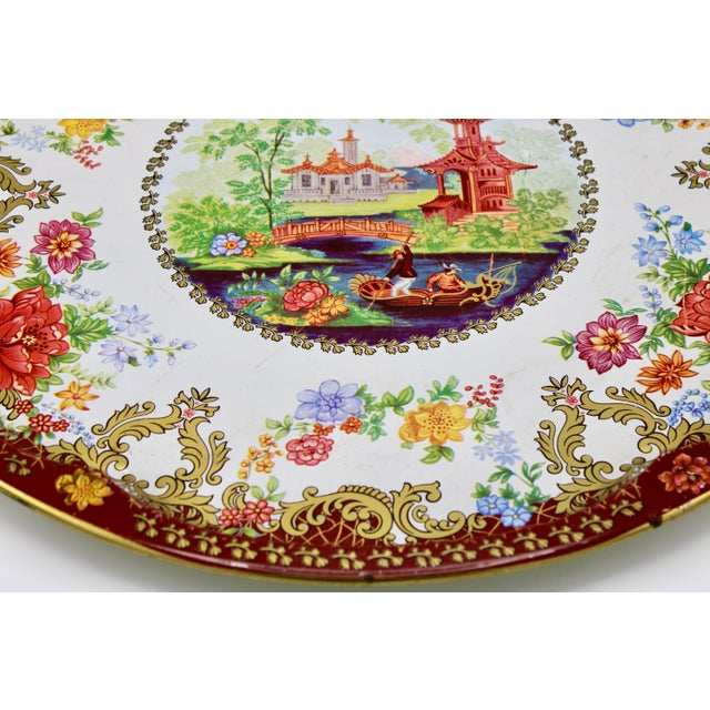 Vintage Chinoiserie Tole Floral Red and Gold Circular Tray For Sale - Image 4 of 12