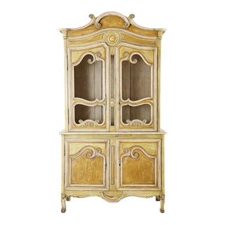 Country French Provincial Painted Buffet Deux Corps Cabinet For Sale