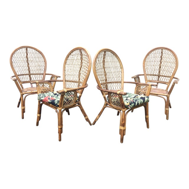 Vintage Modern Bamboo & Rattan High Back Chairs For Sale