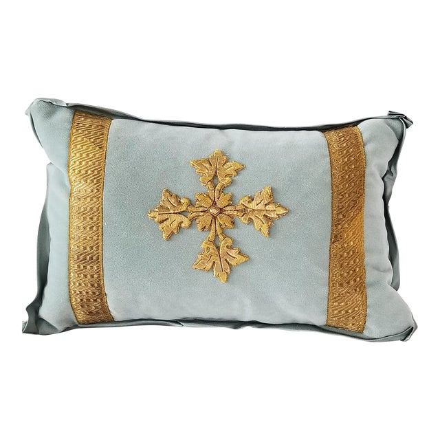 Antique French Ecclesiastical Embroidered Metallic Cross Applique on Custom Down Pillow For Sale
