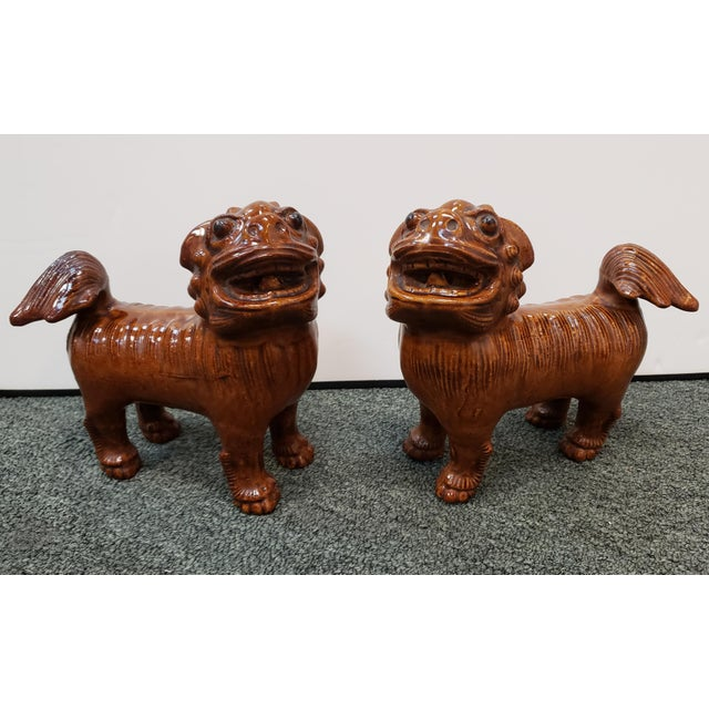 Circa 1900 Japanese Brown Glazed Clay Shisa Dog Statues - a Pair For Sale In New Orleans - Image 6 of 6