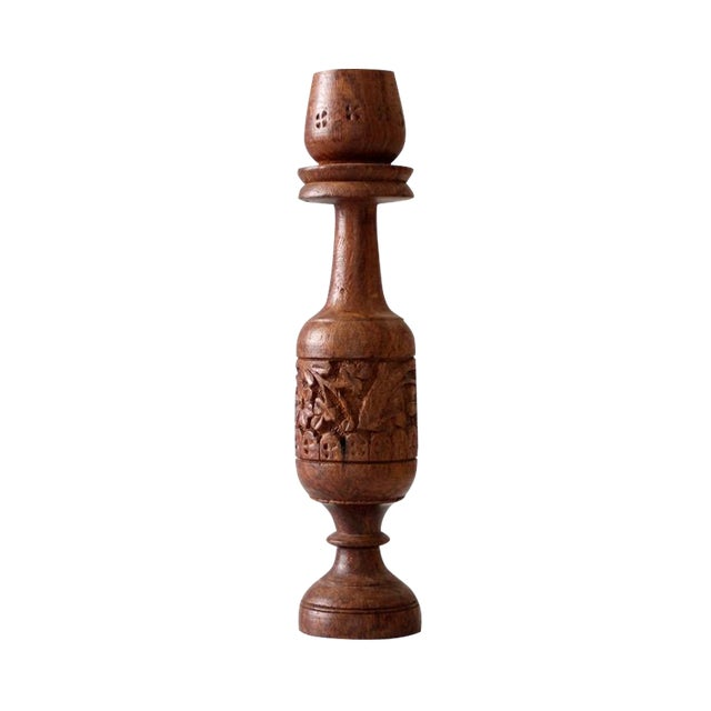 Vintage Hand Carved Wood Candle Holder For Sale