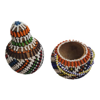 Native American Style Beaded Gourd Set - A Pair