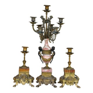 Italian Gilt Cast Bronze and Marble Candelabra and Candlesticks - 3 Pc. Set For Sale