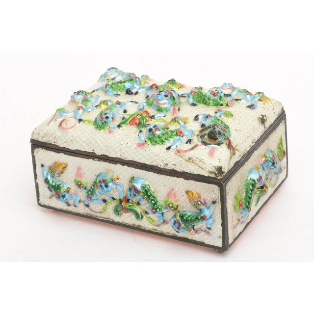 "Late 19th Century Vintage Chinese Rare Metal and Enamel ""Good Luck"" Box For Sale - Image 5 of 10"